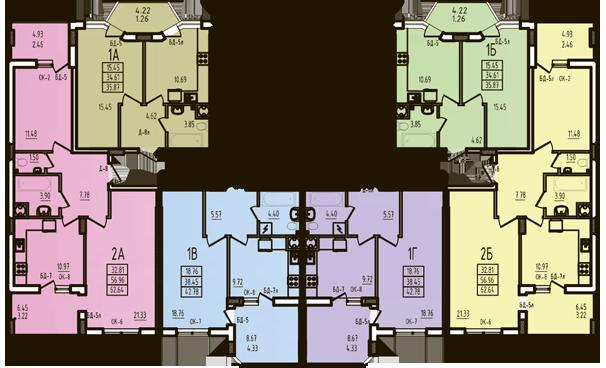 ЖК Радужный 2 Дом №3 Секция 3г План типового этажа