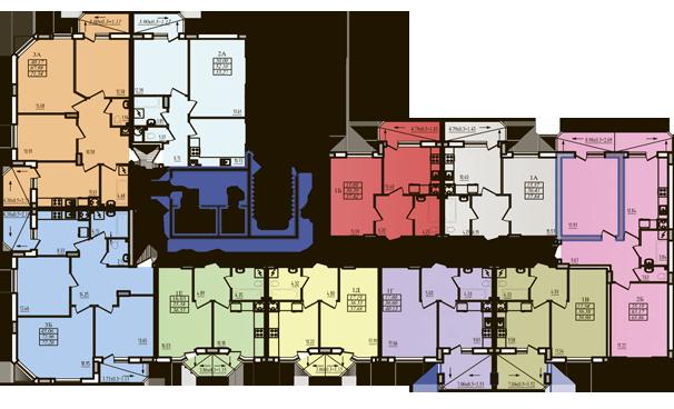 ЖК Радужный 2 Дом №3 Секция 3д План типового этажа