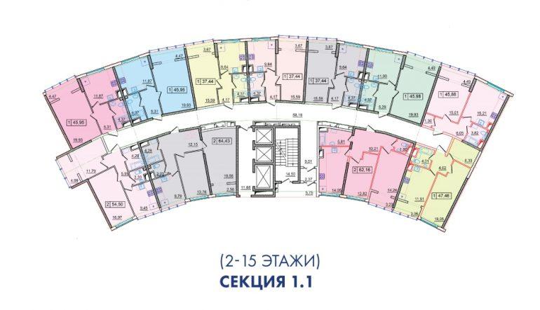 ЖК 36 Жемчужина 1 секция План 2-15 этажей