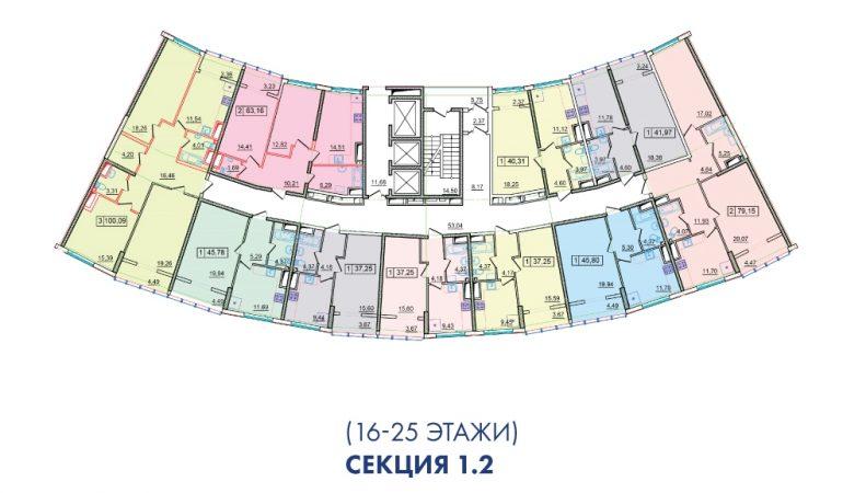 ЖК 36 Жемчужина 2 секция План 16-25 этажей