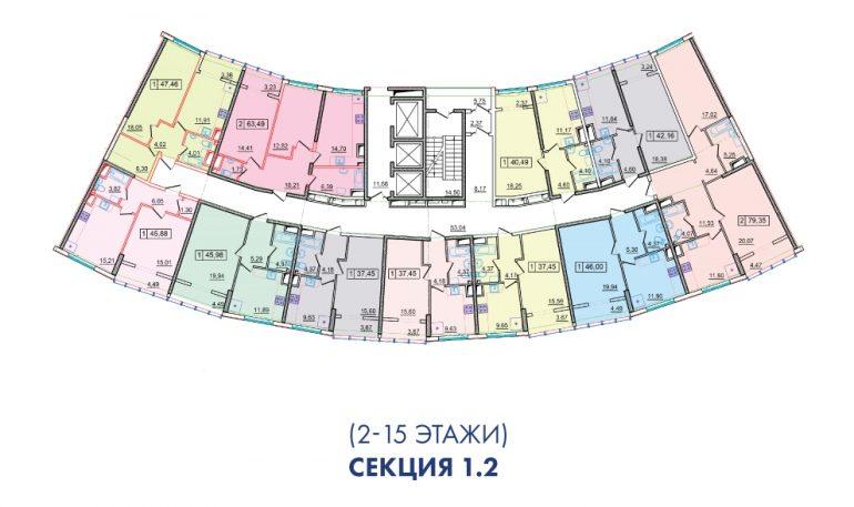 ЖК 36 Жемчужина 2 секция План 2-15 этажей