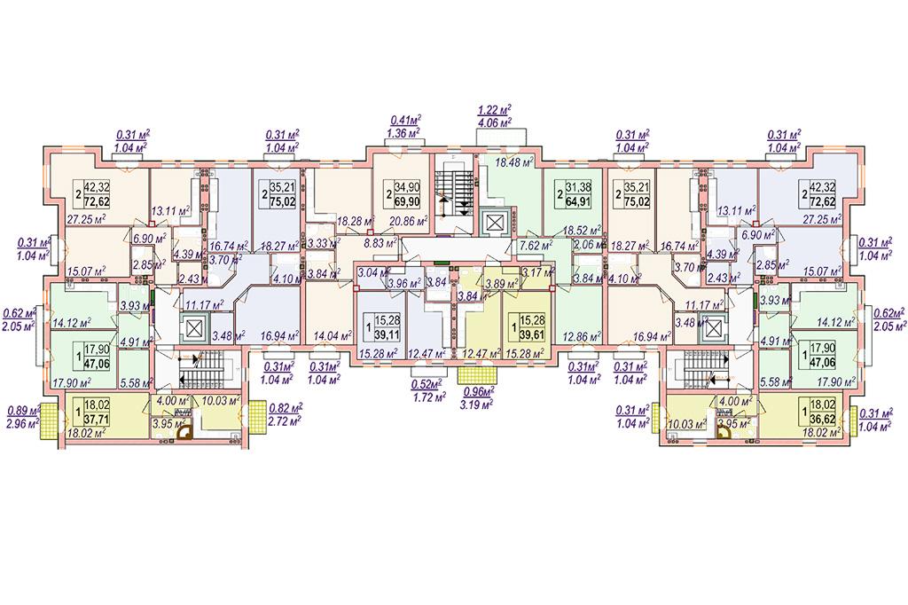 Клубный дом Челси Блок 3 План типового этажа