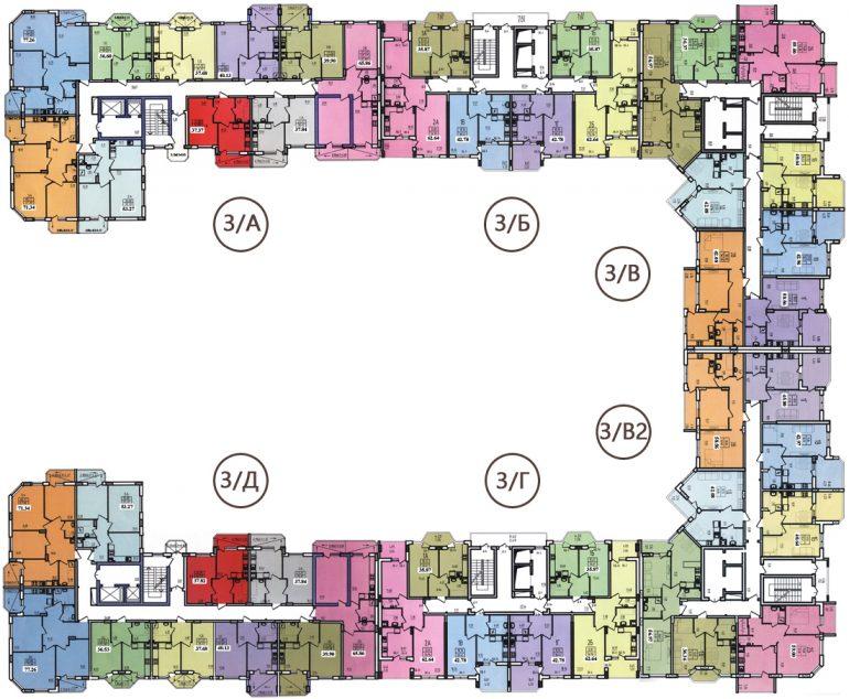 ЖК Радужный 2 Дом №3 Планы типовых этажей
