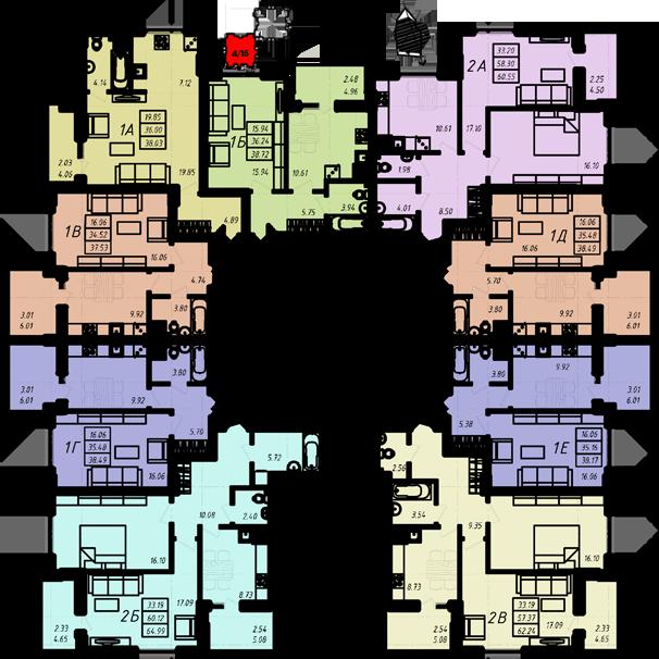 ЖК Радужный 2 Дом №4 Секция 1б План типового этажа