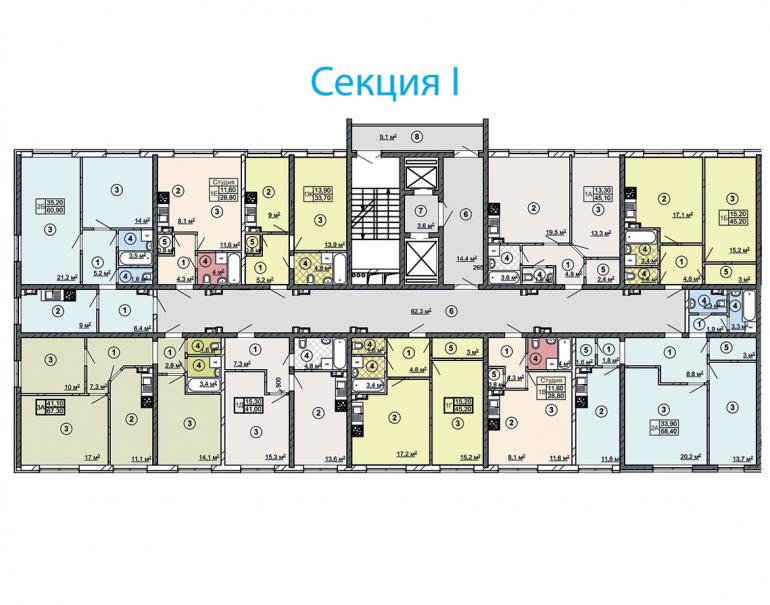 ЖК Сити Парк Дом 2 Секция 1 План типового этажа