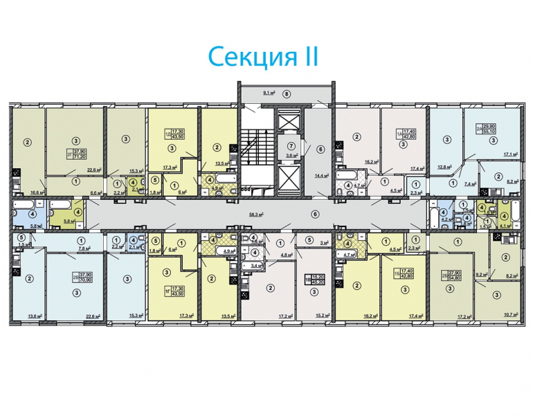 ЖК Сити Парк Дом 2 Секция 2 План типового этажа