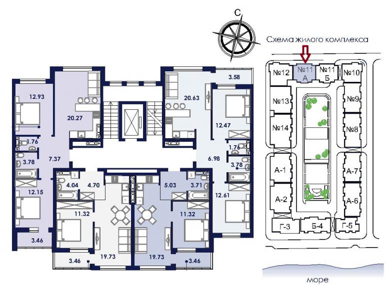 ЖК Ривьера Сити Секция 11а План типового этажа