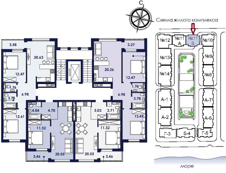 ЖК Ривьера Сити Секция 11б План типового этажа