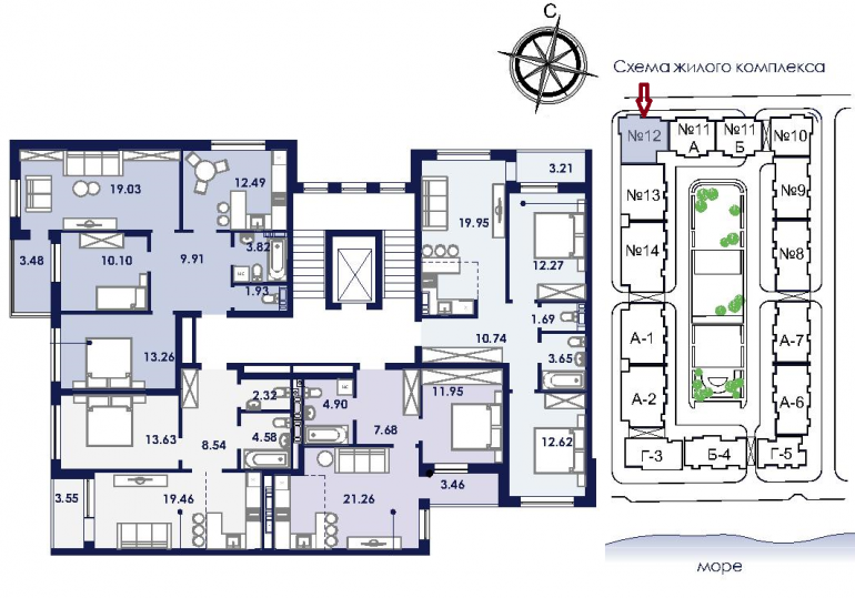 ЖК Ривьера Сити Секция 12 План типового этажа
