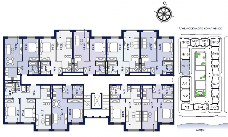 ЖК Ривьера Сити Секция 14 План типового этажа