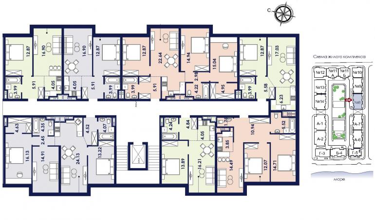 ЖК Ривьера Сити Секция 8 План типового этажа