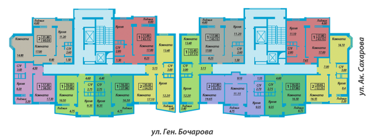 ЖК Мелодия поселок Котовского Планировка типового этажа Секция А