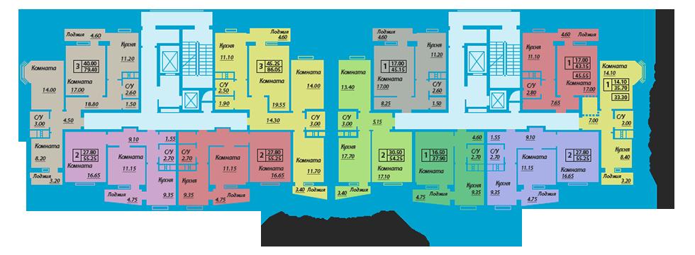 ЖК Мелодия поселок Котовского Планировка типового этажа Секция Б