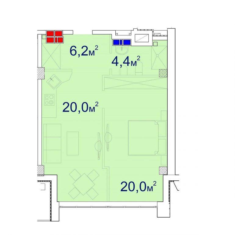 Башня Чкалов Однокомнатная 51,72 кв.м Планировка