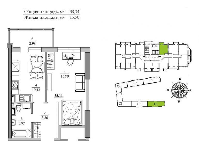 39,04 кв.м ЖК Таировские сады 1 секция Однокомнатная Расположение на этаже