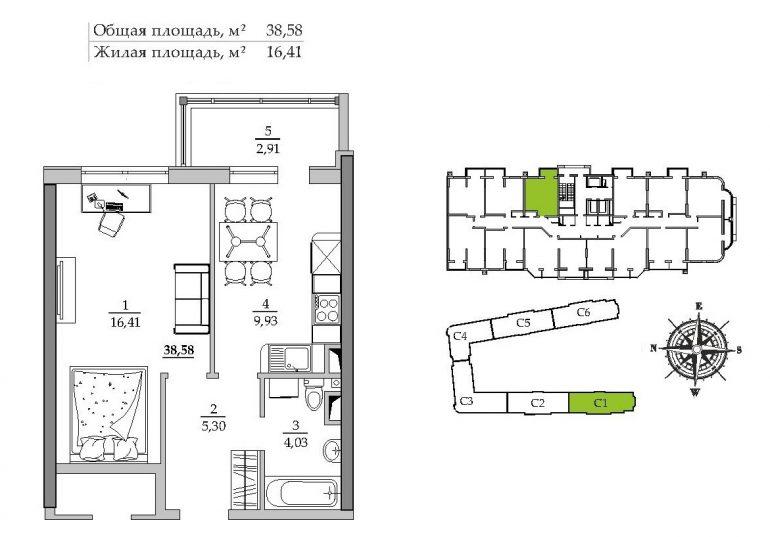 39,83 кв.м ЖК Таировские сады 1 секция Однокомнатная Расположение на этаже