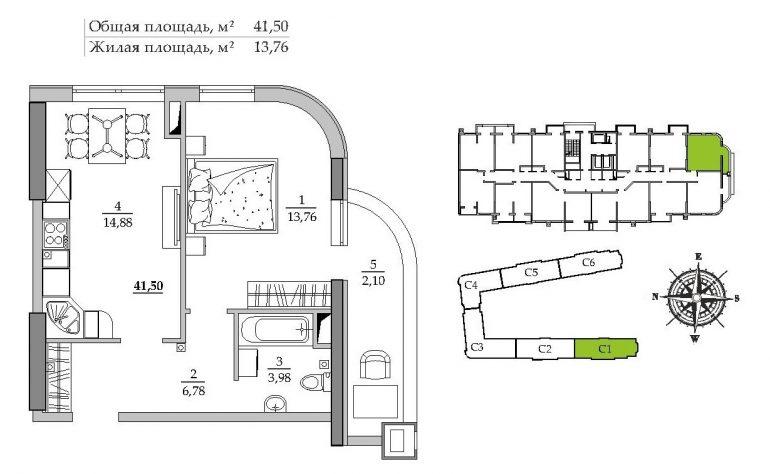 41,68 к.вм. ЖК Таировские сады 1 секция Однокомнатная Расположение на этаже