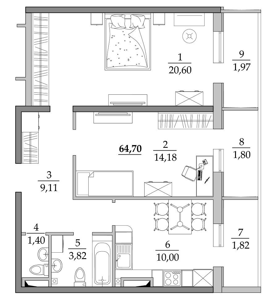 Двухкомнатная - ЖК Таировские сады$40114Площадь:64,7m²
