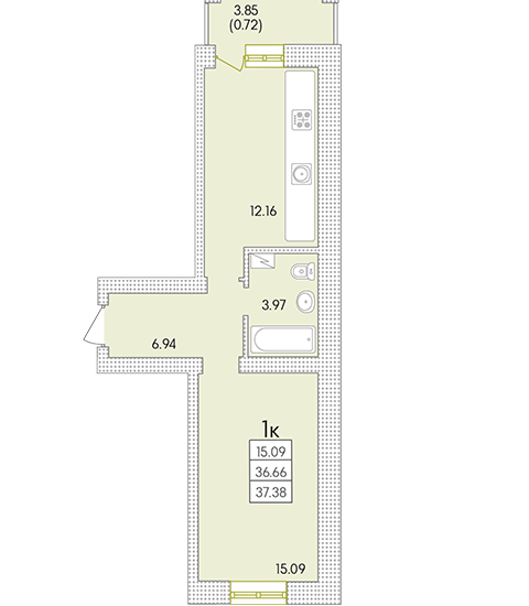 ЖК Парк Совиньон Однокомнатная Площадь 38,62 кв.м Планировка