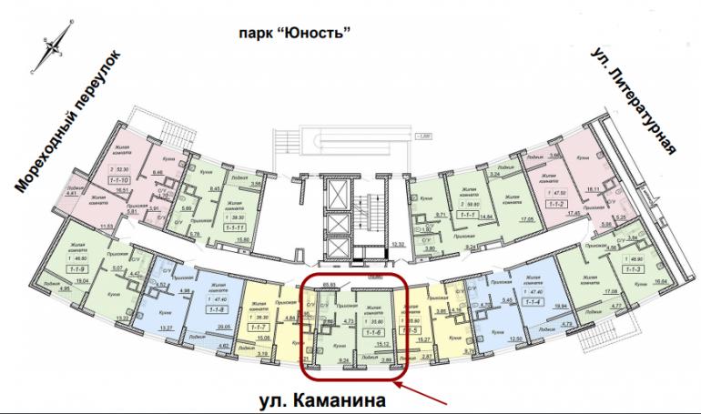 ЖК 43 Жемчужина 2я секция однокомнатная, площадь 35,7, расположение на этаже