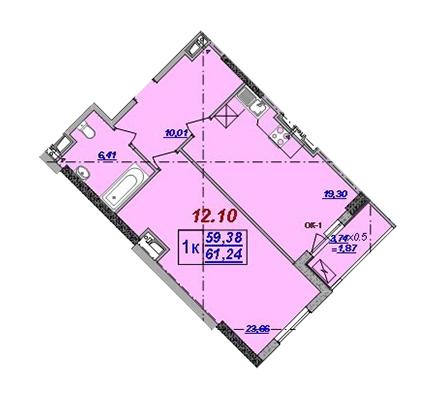 Однокомнатная - ЖК Милос$59403Площадь:61,24m²