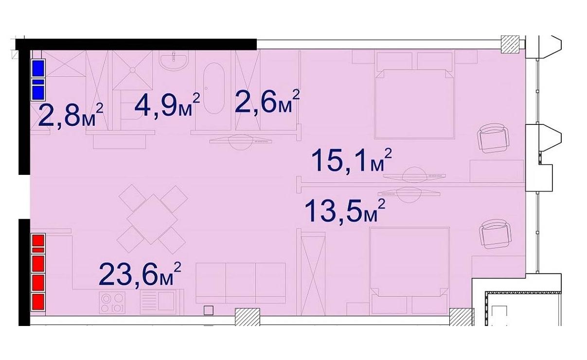 Двухкомнатная - Башня Чкалов CHKALOV$118440Площадь:65,8m²