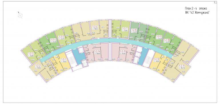 ЖК 42 Жемчужина План 2-4 этажа