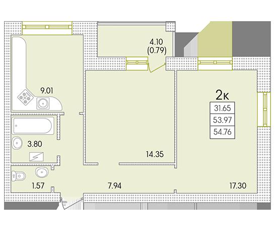 ЖК Парк Совиньон Двухкомнатная Площадь 56,31 кв.м Планировка
