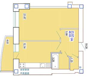 ЖК Одесский двор Однокомнатная Площадь 46,76 кв.м Планировка 2