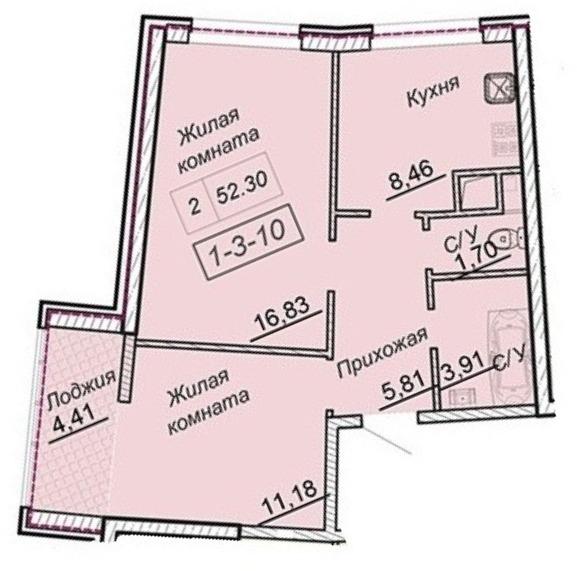 Двухкомнатная - 43 Жемчужина (Сорок третья)ПроданаПлощадь:51,4m²