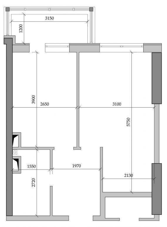 39,04 кв.м ЖК Таировские сады 1 секция Однокомнатная Планировка 1