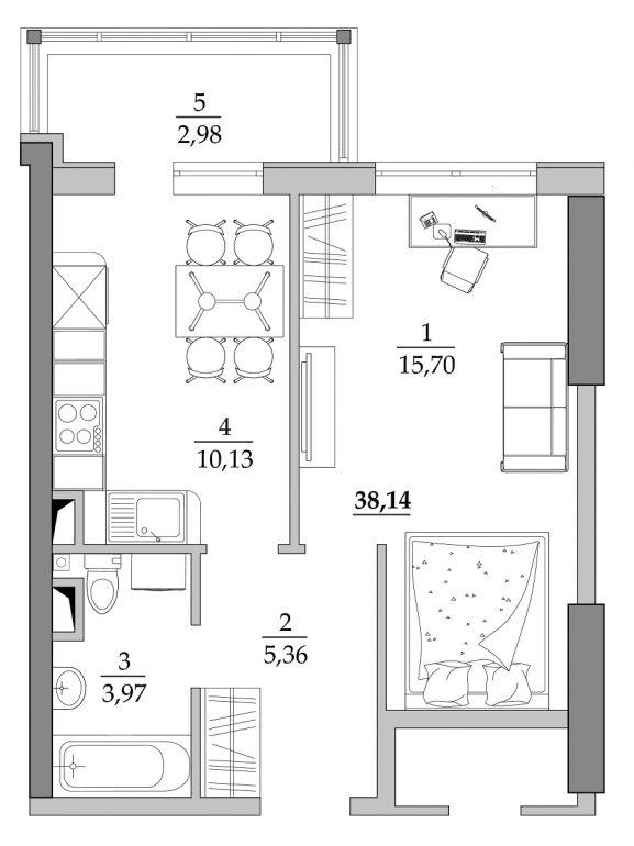 39,04 кв.м ЖК Таировские сады 1 секция Однокомнатная Планировка