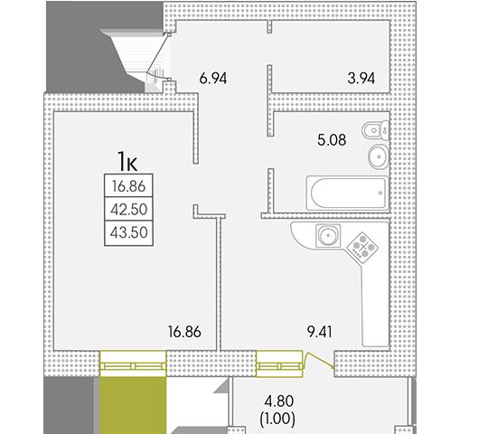 ЖК Парк Совиньон Однокомнатная Площадь 44,75 кв.м Планировка