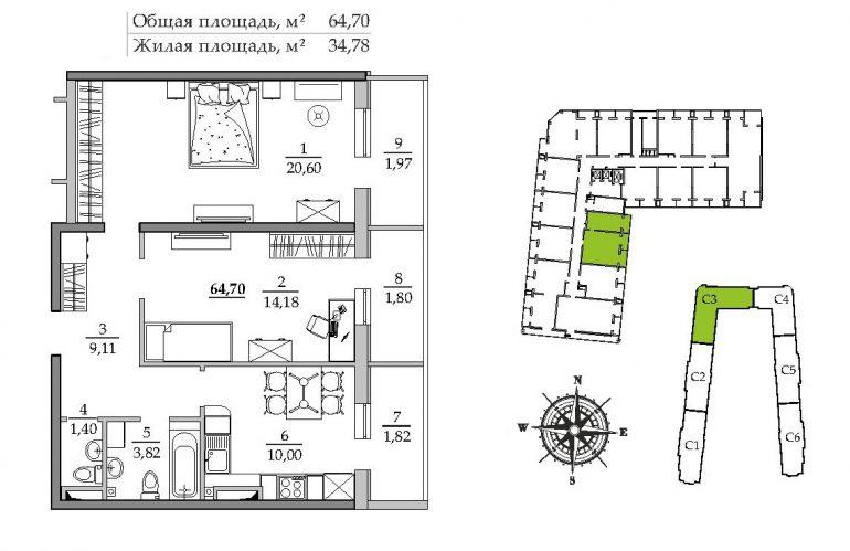 Таировские сады 1 очередь Двухкомнатная 64,7 Расположение на этаже