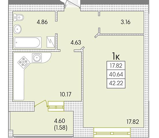 43,47 кв.м ЖК Парк Совиньон Однокомнатная Планировка