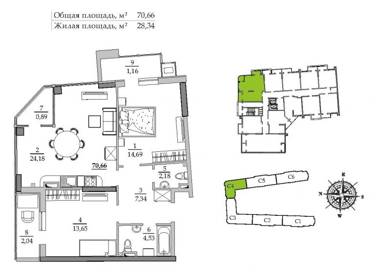69,8 кв.м ЖК Таировские сады 4 секция Двухкомнатная Расположение на этаже