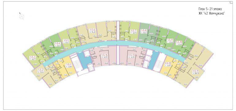 ЖК 42 Жемчужина План 5-21 этажа