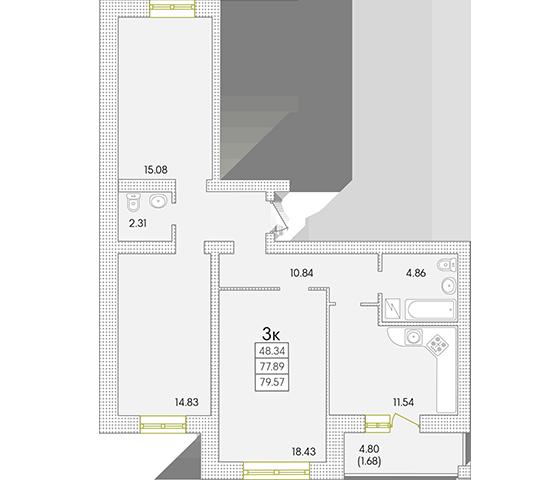 ЖК Парк Совиньон Трехкомнатная Площадь 79,57 кв.м Планировка