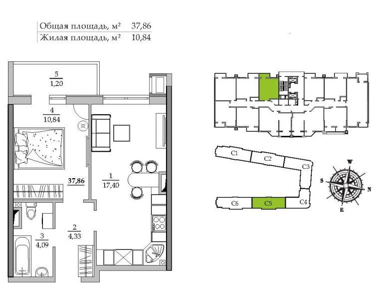 37,85 кв.м ЖК Таировские сады 5 секция Однокомнатная Расположение на этаже
