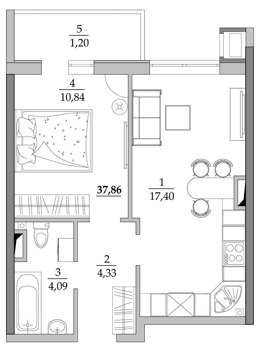 Однокомнатная - ЖК Таировские сады$24035Площадь:37,85m²