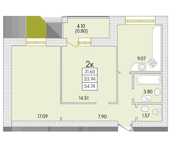 ЖК Парк Совиньон Двухкомнатная Площадь 54,74 кв.м Планировка