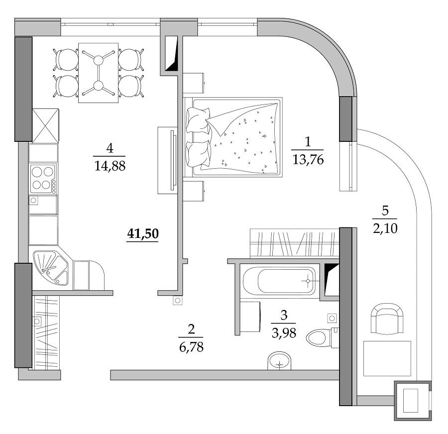 Однокомнатная - ЖК Таировские сады$27346Площадь:41,75m²