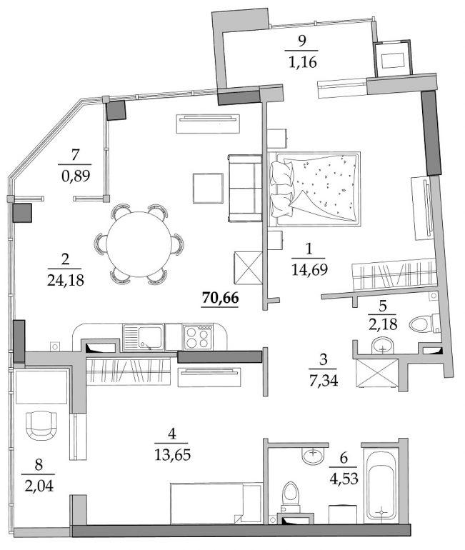 69,8 кв.м ЖК Таировские сады 4 секция Двухкомнатная Планировка