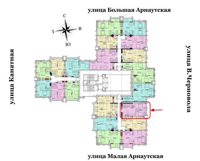 65,8 кв.м Башня Чкалов Двухкомнатная Расположение на этаже