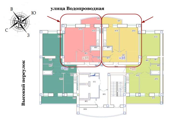 ЖК Одесский двор Однокомнатная Площадь 46,76 кв.м Расположение на этаже