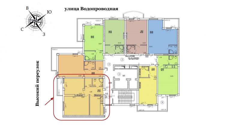 ЖК Одесский двор Двухкомнатная Площадь 57,24 кв.м Расположение на этаже