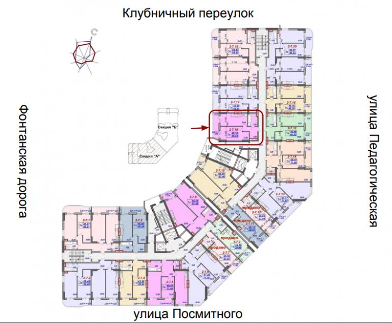Милос Однокомнатная 50,54 Расположение на этаже