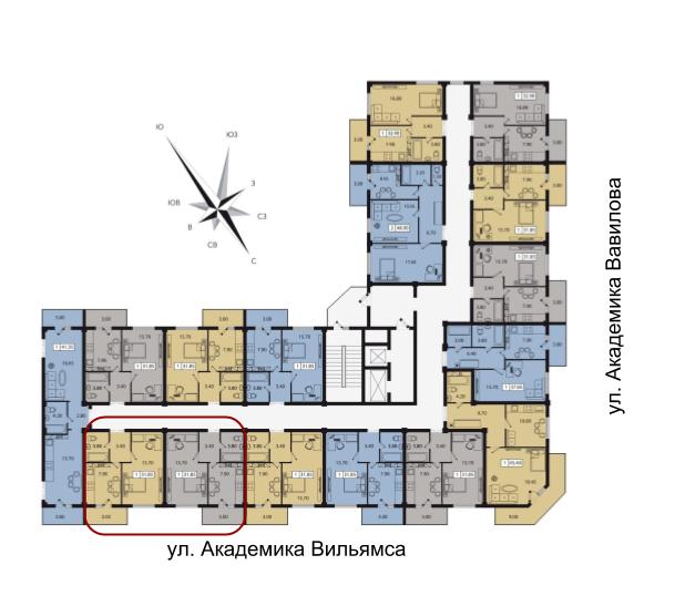 63,7 ЖК Два Академика объединенные размещение на этаже