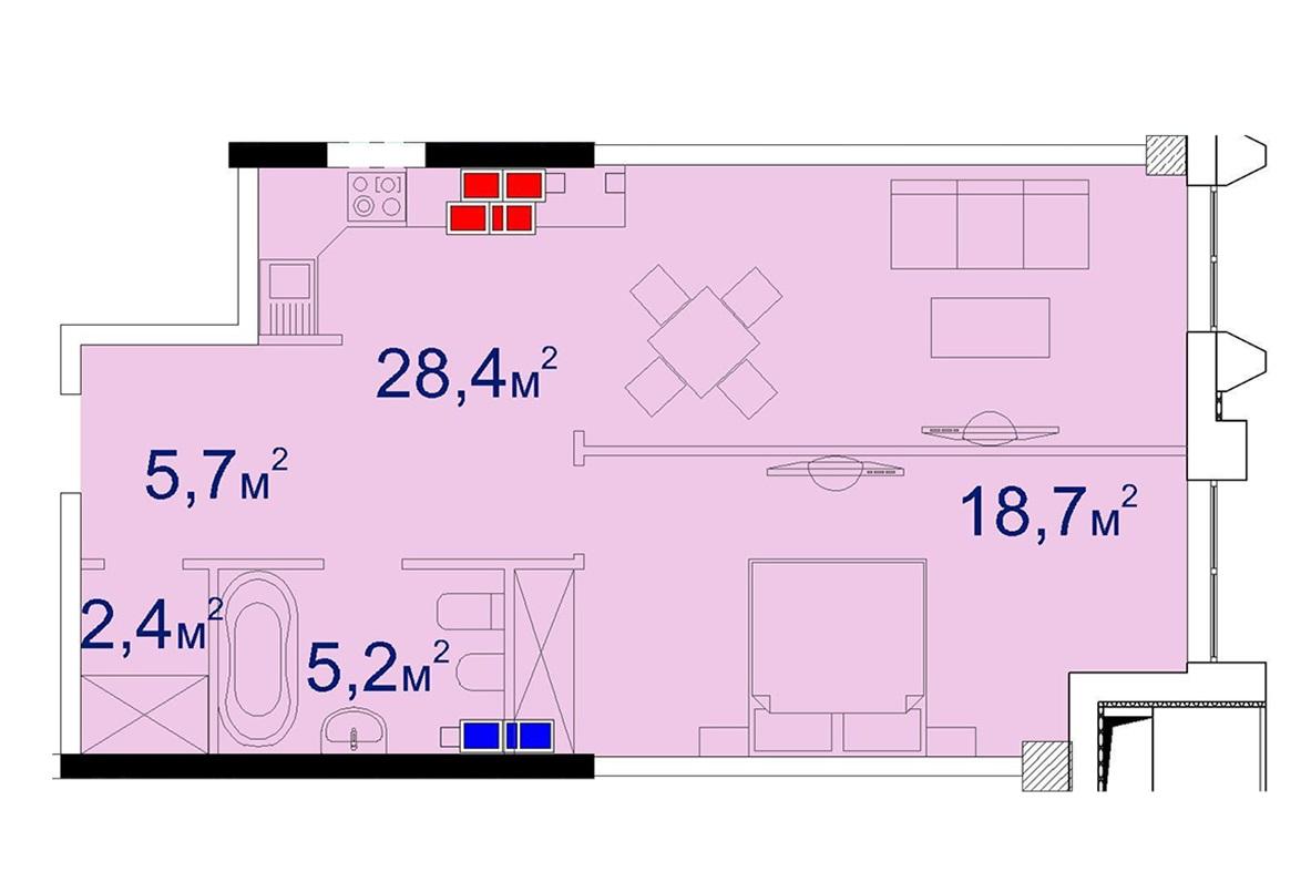 Однокомнатная - Башня Чкалов CHKALOV$103831Площадь:63,7m²