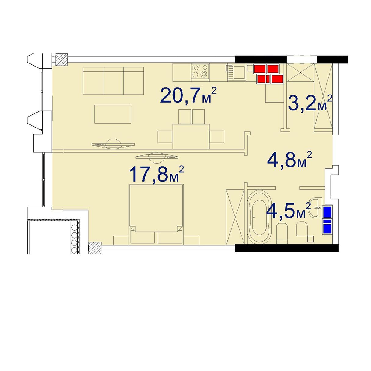 Однокомнатная - Башня Чкалов CHKALOV$85320Площадь:54,3m²